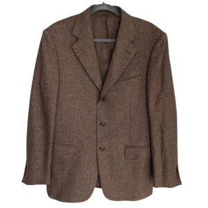 Ermenegildo Zegna brown tweed textured wool blazer